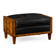 Jonathan Charles Home Transitional Footstool Black Leather 495294