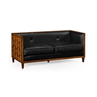 Jonathan Charles Home Two And A Half Seater Sofa In Black Leather 495297-DLF-L012 Daniella Light Finish on Marquetry veneer