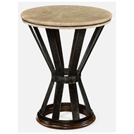 Jonathan Charles Home Iron Round Dark Marble Table