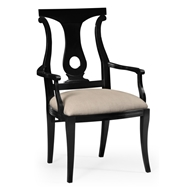 Jonathan Charles Home Black Lock Dining Armchair 495351-AC-BLA Painted Formal Black