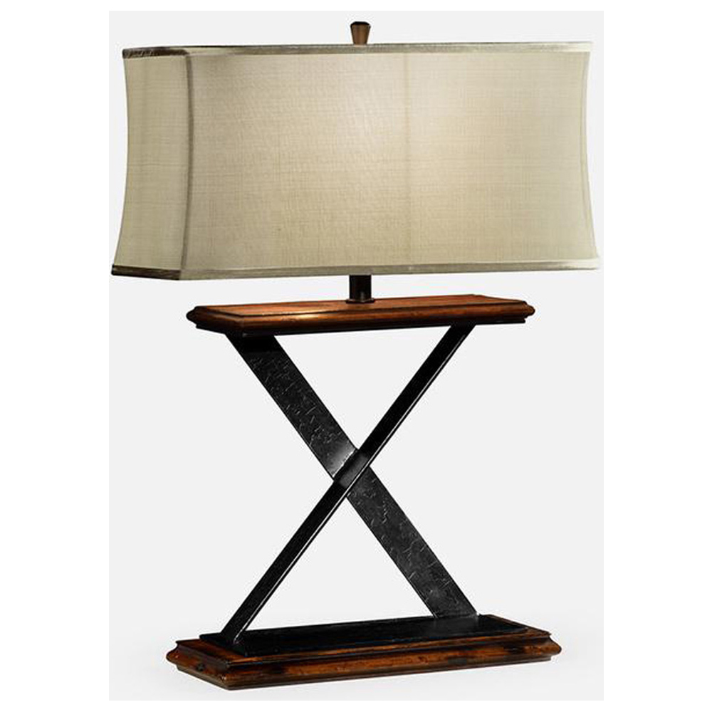 Jonathan Charles Lighting Artisan Table Lamp In Rustic Walnut With Wrought  Iron