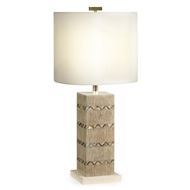 Jonathan Charles Lighting Inlaid Shell Herringbone Lamp 495368-LIM Limed Tartan