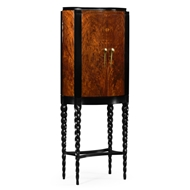 Jonathan Charles Home Bar Cabinet With Black Twist Leg 495378-TWC-BLA Tropical Walnut Crotch