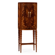 Jonathan Charles Home Bar Cabinet With Walnut Twist Leg 495378-TWC-WLL Tropical Walnut Crotch