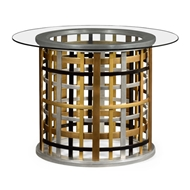 Jonathan Charles Home Multi Metal Round Plaid Centre Table 495403