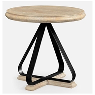Jonathan Charles Home Round Side Table With Iron Base In Limed Acacia