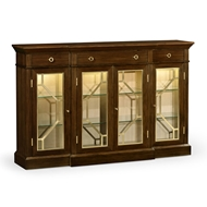 Jonathan Charles Home 4-Door Breakfront Display Cabinet 495415-DST Calista finishing on veneer