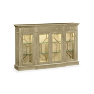 Jonathan Charles Home Opera 4-Door Breakfront Display Cabinet With Brass 495415-GSH Champagne Finish