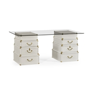Jonathan Charles Home Great White Faux Croc Valise Desk 495423-WHT Blanc (Plain White) Finish