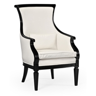 Jonathan Charles Home Upholstered Occasional Chair In Cream Leather 495432-BLA-L014 Painted Formal Black