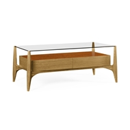 Jonathan Charles Home Architects Cocktail Table with Drawers And Glass Top 495435