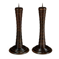 Jonathan Charles Lighting Pair Of Finely Carved Candlesticks 495459 Rustic Walnut Finish