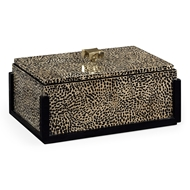 Jonathan Charles Home Rectangular Box With Brass Handle 495488-EA001 Black midnight on inverted eggshell