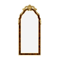 Jonathan Charles Wall Decor Standing Mirror With Gilt Carved Detailling 495510-BMA-GIL Antique Mahogany Brown - NC High Lustre on veneer