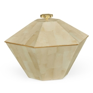 Jonathan Charles Home Dutch White Eggshell Hexagonal Box 495512-EC003 Cream Brushed Eggshell