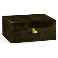 Jonathan Charles Home Dark Bronze Rectangular Box 495529-MGF Foil Moss Green