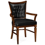 Jonathan Charles Home Dining Armchair In Black Leather 495565-AC-DST-L012 Calista finish (on wood)