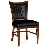 Jonathan Charles Home Dining Side Chair In Black Leather 495565-SC-DST-L012 Calista finish (on wood)