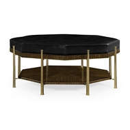 Jonathan Charles Home Octagonal Coffee Table Upholstered In Black Leather 495574