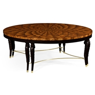Jonathan Charles Home Feather Inlay Handcarved Coffee Table