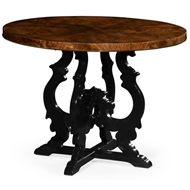 Jonathan Charles Home Brown Mahogany Center Table With Black Painted Base 495721-LBM Mahogany Light Brown Finishing