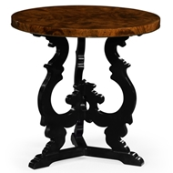 Jonathan Charles Home Brown Mahogany End Table With Black Painted Base 495722-LBM Mahogany Light Brown Finishing