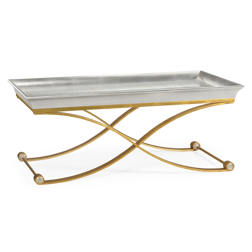 Jonathan Charles Home Coffee Table With Gilded Silver Leaf 495729-GES Glass Etched on Genuine Silver-leaf