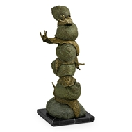 Jonathan Charles Home Bronze Stacked Snails 495844-DKB Dark Bronze with Verdigris Rub-Through