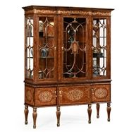 Jonathan Charles Home Burl & Mother Of Pearl Display Cabinet 499213-BRW-MOP Burr Walnut Light - NC High Lustre on veneer