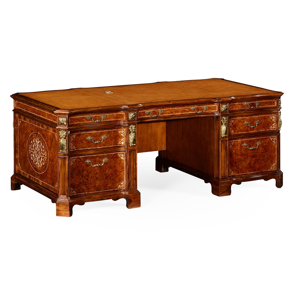 Jonathan Charles Home Burl Mother Of Pearl Faux Partners Desk 499323