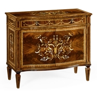 Jonathan Charles Home Small Side Cabinet With Fine Mop & Marquetry Inlay 499341-MAM Antique Mahogany Medium - PU-NC High Lustre on ven