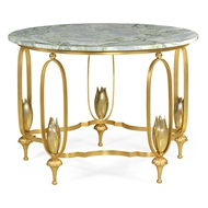 Jonathan Charles Home Gilded Centre Table With Green Marble Top