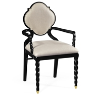 Jonathan Charles Home Armchair With Twist Leg, Upholstered In Mazo 500050-AC-BLA-F001 Painted Formal Black