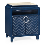 Jonathan Charles Home Night Stand In Antique Blue Oak With Parquest Design 500065-BBO Blue Berry Oak Finish