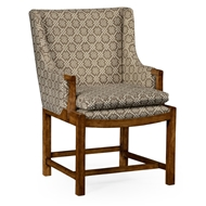 Jonathan Charles Home Coniger Upholstered Chair 530006 WY Grey Fruitwood Finish on Acacia