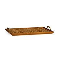 Jonathan Charles Home Rectangular Geometric Inlaid Tray 530152-NAC Natural Acacia with Argentinian Parquetry