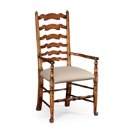 Jonathan Charles Home Walnut country ladder back chair (Cushion) 492296-AC-WAL-F001