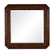 Jonathan Charles Wall Decor Dark oak square mirror with carved rosettes 493145-TDO