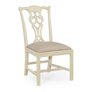 Jonathan Charles Home Linen painted Chippendale style side chair 493330-SC-LIN-F001