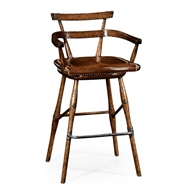 Jonathan Charles Home Oak barstool with studded leather seat (Arm) 494315-AC-TDO