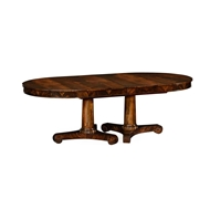 Jonathan Charles Home Mahogany Two Self Storing Leaves Biedermeier Style Dining Table