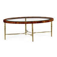 Jonathan Charles Home Oval Coffee Table in Tropical Walnut Crotch with Brass Base 495649