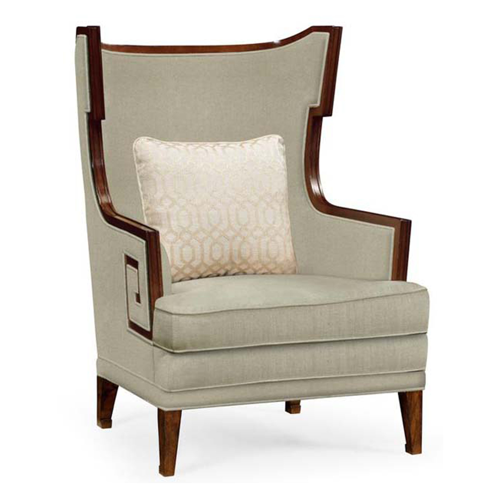Jonathan Charles Home Biedermeier Greek Key Walnut Occasional Chair   Mazo