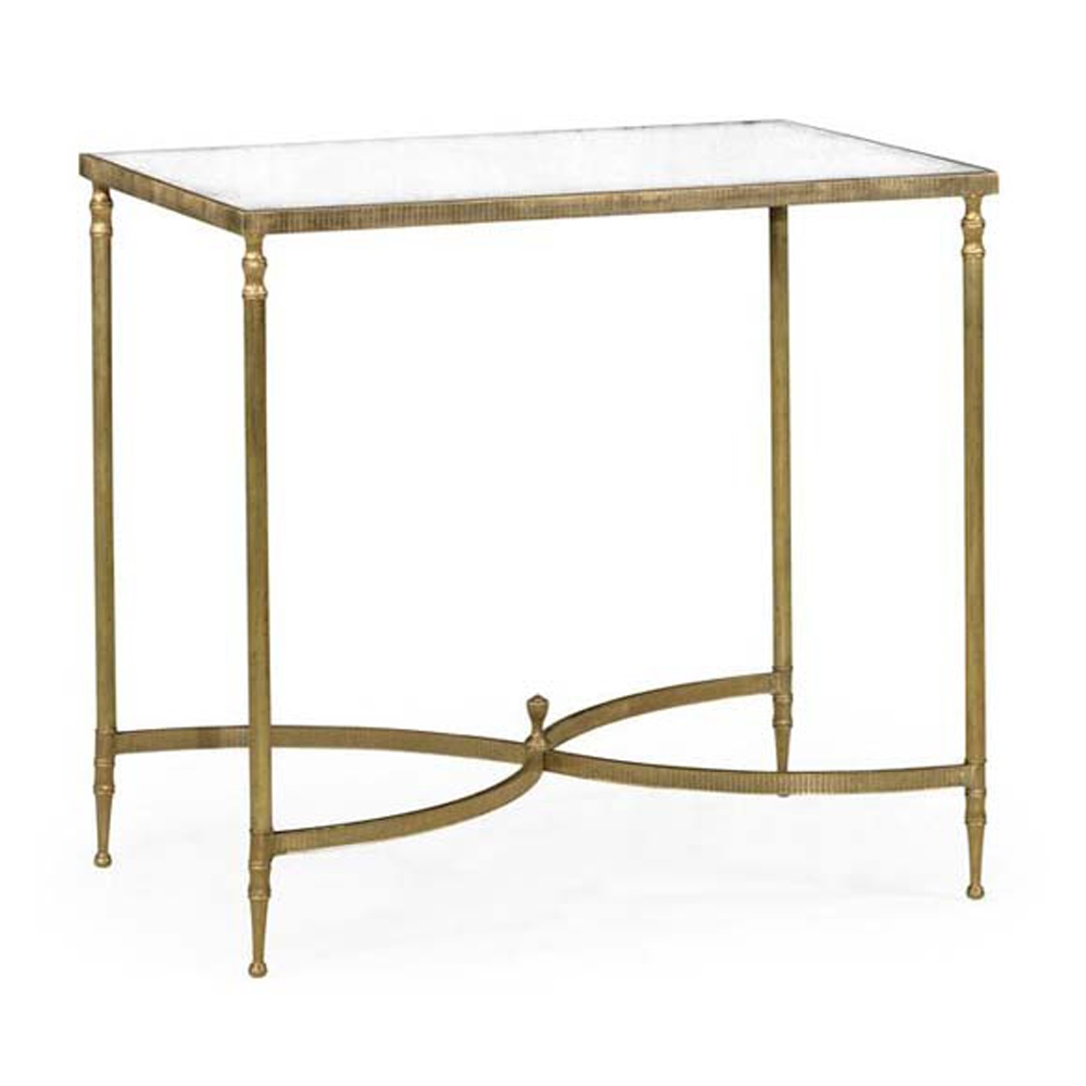 Jonathan Charles Home Rectangular Antique Brass End Table With Mirror Top