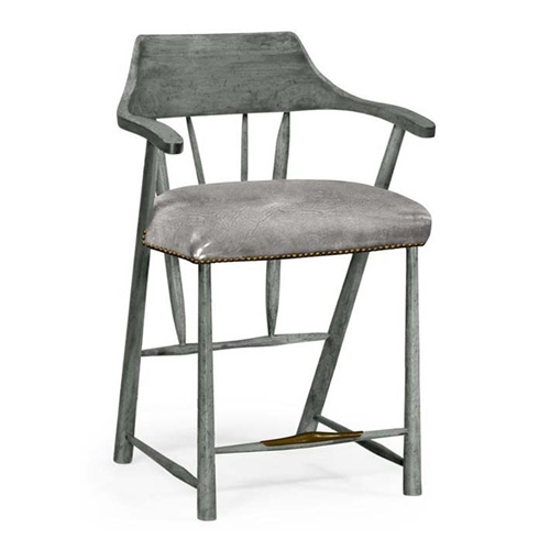 Jonathan Charles Home Smokers Style Antique Dark Grey Bar Stool - Set of 2 495887-BS-ADG