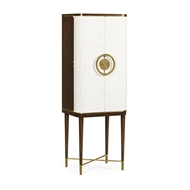 Jonathan Charles Home Walnut & Crackle Cloth Lacquered Drinks Cabinet 495893-WRC-PCC