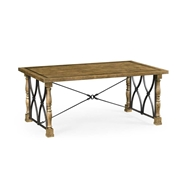 Jonathan Charles Home Small English Brown Oak & Iron Coffee Table 495895