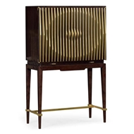 Jonathan Charles Home Ebony & Ribbed Antique Satin Brass Drinks Cabinet 495899-EBA