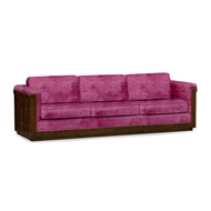 Jonathan Charles Home Antique Mahogany Brown Sofa - Fuschia Velvet 500124-110L