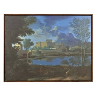Jonathan Charles Home Coastland Baroque Style Landscape Painting with Walnut Frame 540038